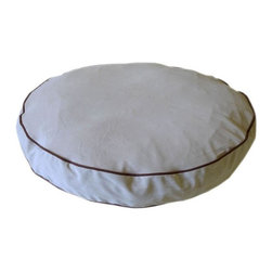Carolina Pet Company - Microfiber Round About, Linen, 35 X 4 - Plush easy care microfiber fabric repels hair and dirt.  High loft recycled Polyester fill keeps pets happy and healthy by relieving pressure on hips and joints. Zippered removable cover for machine washing and drying.  Recommend warm setting with mild detergent and cool dry setting.