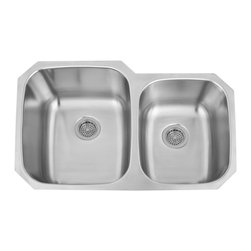 "32"" Infinite 60/40 Offset Double-Bowl Stainless Steel Sink - Small Bowl Right - The Infinite Rectangular 60/40 Offset Double-Bowl Stainless Steel Undermount Sink is built to last in the busiest kitchens, with the small bowl on either the left or right side."