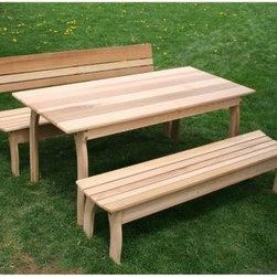 Creekvine Designs Cedar Odd Couple Picnic Table Set - The Cedar Odd Couple Picnic Table Set is both functionally and visually appealing. Ideal to entertain on your patio, this set is mixed and matched with a combination of a backed and a backless bench. A lovely way to entertain guests outdoors, this table set allows you to enjoy nature with your favorite company.About Creekvine DesignsBased out of Gibsonia, Pennsylvania, Creekvine Designs have worked hard for the past 11 years to provide the best in quality products, customer service, and origination. They specialize in furniture, home and garden accessories, and leisure industry products. They only use fine hardwoods to create their products so that they can provide the refined, high-end merchandise. With superior craftsmanship and personal customer service as their main focus, they are sure to supply unsurpassed quality and a helping hand. Please note this product does not ship to Pennsylvania.
