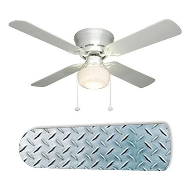 """Diamond Plate Garage Shop Den 42"""" Ceiling Fan and Lamp - 42-inch 4-blade ceiling fan with a dome lamp kit that comes with custom blades. It has a white flushmount fan base. It has an energy efficient 3-speed reversible airflow motor for year long comfort. It comes with complete installation/assembly instructions. The blades can be cleaned with a damp cloth. It is made with eco-friendly/non-toxic products. This is brand new and shipped in the original box. This is not a licensed product, but is made with fully licensed products. Note: Fan comes with custom blades only."""