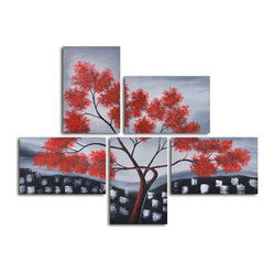Red leaves over rooftops Hand Painted 5 piece canvas set - A tree grows in this original mosaic of paintings. Softly rendered crimson leaves stand out on a grayscale background, bringing the vibrancy of nature into relief against abstract rooftops. Painted by a single artist, this one-of-a-kind set will look radiant in your contemporary space.