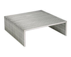 Nuevo Living - Amici Square Coffee Table - Add something striking to your favorite modern setting. This simple yet bold coffee table of brushed stainless steel will fit seamlessly with your decor while adding impact all its own.
