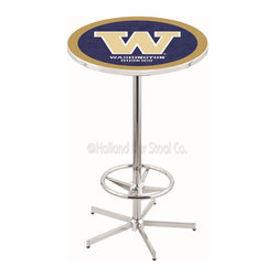 Holland Bar Stool - Holland Bar Stool L216 - 42 Inch Chrome Washington Pub Table - L216 - 42 Inch Chrome Washington Pub Table  belongs to College Collection by Holland Bar Stool Made for the ultimate sports fan, impress your buddies with this knockout from Holland Bar Stool. This L216 Washington table with retro inspried base provides a quality piece to for your Man Cave. You can't find a higher quality logo table on the market. The plating grade steel used to build the frame ensures it will withstand the abuse of the rowdiest of friends for years to come. The structure is triple chrome plated to ensure a rich, sleek, long lasting finish. If you're finishing your bar or game room, do it right with a table from Holland Bar Stool.  Pub Table (1)