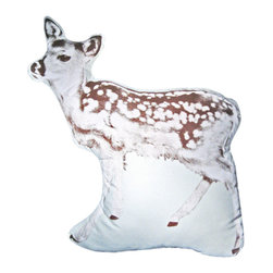 Fauna - Fawn Pillow  Dark Brown On Natural - Oh, deer! Why not add a winsome touch of wildlife to your decor. From the offbeat silhouette shape to the sepia-toned print, this fawn sends the cute factor through the roof.