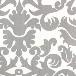 Amsterdam Storm/Twill Drapery Fabric - This gray and white damask fabric is very stunning, and I love the idea of using it for curtains. The design is beautiful, and would even work for throw pillows or bedding.