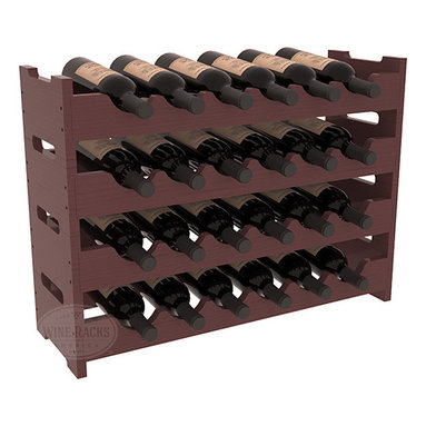 Wine Racks America - 24 Bottle Mini Scalloped Wine Rack in Pine, Walnut Stain + Satin Finish - Stack four 6 bottle racks with pressure-fit joints for proper storage of 24 wine bottles. This rack requires no hardware for assembly and is ready to use as soon as it arrives. Makes the perfect gift and stores wine on any flat surface.