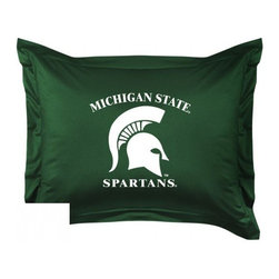 Sports Coverage - Michigan State Spartans Locker Room Collection Pillow Sham - Show your team spirit with this officially licensed 25 x 31 Michigan State Spartans sham. There is a 2 flanged edge that decorates all four sides of each Michigan State NCAA sham. Made of 100% polyester jersey mesh, just like the players wear, with screen printed Michigan State Spartans logo in the center. Envelope closure in back. Fits standard pillow. Coordinates with Michigan State Locker Room Collection. 3 overlapping envelope closure is on back.