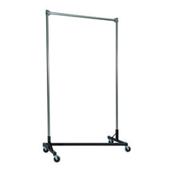Z Racks - Z-Rack Garment Rack w 48 in. Single Rail w 84 - Base Color: Black. 500lb capacity. 14 gauge, 48 in. Long steel base (Environmentally safe powder coated finish). 16 gauge, 84 in. upright bars and hang rail. 1 5/16 outside diameter upright bars and hang rail. Grey non-marking soft rubber with TP center 4 in. casters. Made in the USA. Assembly Required. 51 in. L x 23 in. W x 91 in. HThis clothes rack will fit into smaller spaces to meet all of your storage needs. You can have confidence that this rack�۪s four-foot frame and extending uprights will get the job done.