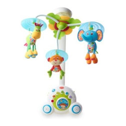 Tiny Love - Tiny Love Soothe 'n Groove Mobile - The Soothe 'n Groove Mobile is a melodious and colorful mobile that offers a world of music to your child. It has 18 different tunes in 6 separate categories, which is up to 40 minutes of continuous non-repetitive music.