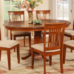 East West Furniture - Portland Oval Dining Table - Single pedestal base. 18 in. removable butterfly leaf. Made from Asian rubber solid wood. Saddle brown finish. Assembly required. Minimum: 42 in. L x 42 in. W x 30 in. H. Maximum: 60 in. L x 42 in. W x 30 in. H