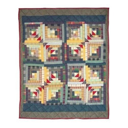 Patch Magic - Wild Goose Log Cabin Crib Quilt - 36 in. W x 46 in. L. Handmade, hand quilted. 100% CottonMachine washable, but for best care hand wash in cold water. Do not machine dry. Do not dry clean. Line or flat dry only.
