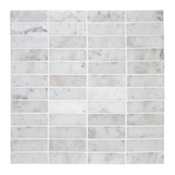 Carrara Venato Marble 1x3 Stacked Mosaic Tile - The variation in this stone is subtle and gorgeous. The aligned grout joints have a much more modern feel than an ashlar pattern.