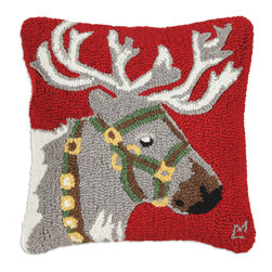Chandler 4 Corners - Reindeer Hooked Pillow - This reindeer pillow is just the touch you need to spruce up your sofa or bed for the holidays! Our striking pillow is designed by acclaimed Vermont artist Laura Megroz. Our Cabin Fever 18 inch square hand-hooked pillow is carefully crafted from 100% New Zealand wool and features a zippered color coordinated velveteen backing with plush poly-fill pillow insert. Warm even the coldest heart with this precious holiday gift. Group our reindeer, Santa and snowflake pillows with our ski stockings for maximum holiday cheer that lasts for years!