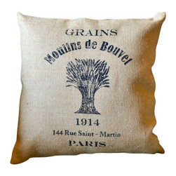 Grain Sack Printed Feedsack Pillow - This beautiful Grain Sack Printed Feedsack Pillow captures the look of a weathered grain sack, lending country charm to any sofa, chair or bed.