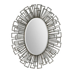 Uttermost - Alcinia Oval Metal Mirror - Frame Is Made Of Hand Forged, Square Metal Tubes Welded In A Concave Fashion With A Heavily Distressed, Rust Green Finish With Silver Leaf Undertones. Mirror Is Beveled.