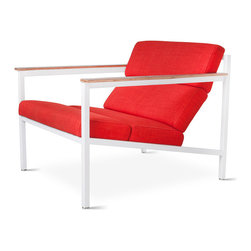 Gus Modern - Halifax Chair  by Gus Modern - Laurentian Sunset - White Powder Coat - The Halifax is a contemporary accent chair with a laid-back, industrial feel. Faceted upholstery panels rest on a precision welded, powder-coated steel frame. Walnut-finished paddle armrests help soften the strong lines of this unique design. Upholstered panels use FSC-Certified wood products in support of responsible forest management.