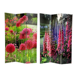 Oriental Unlimited - Double Sided 6 ft. Tall Floral Print Canvas F - One double-sided divider, both sides shown in image. Wood frame covered in a durable canvas fabric. Large enchanting floral images of snapdragons and pompoms. Blocks light and provides privacy. 15.88 in. W x 71 in. H (per panel)This is a bright, beautiful floor screen printed on one side with pink and purple snapdragons and on the other side with large striking fuchsia pompom flowers. This stunning decorative accessory is perfect for adding both color and a calm beauty to home or professional office space.