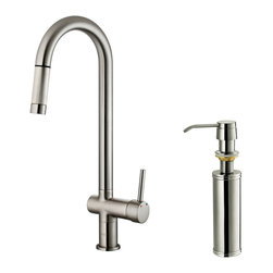 Vigo - Vigo Stainless Steel Pull-Out Spray Kitchen Faucet with Soap Dispenser - Improve the look of your kitchen by adding a stylish and durable Vigo faucet.