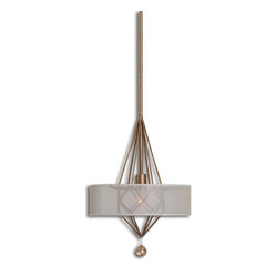 Uttermost - Amaro 1 Light Pendant - Diamonds may be a girl's best friend, but this burnished gold metal pendant has something for everyone. A sheer silk shade and sparkling crystal accent make this pendant a fine lighting choice for a bedroom, dining room or any room that could use a glamorous touch.