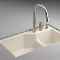 KOHLER - KOHLER K-6411-3-33 Indio Undercounter Double Offset Basin Kitchen Sink - KOHLER K-6411-3-33 Indio Undercounter Double Offset Basin Kitchen Sink with Three-Hole Faucet Drilling in Mexican Sand