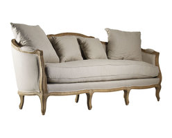 """Kathy Kuo Home - Rue du Bac French Country Linen Feather Down Sofa - This wonderful curved back sofa is hand crafted of sturdy oak in a slightly distressed white wash finish.  Upholstered in natural linen, this French inspired sofa lends vintage elegance to any living room.  Two 24"""" and two 18"""" linen toss pillow comes with this sofa.  Coordinating armchair and settee available as well.  Free white glove delivery included"""