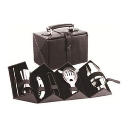 Franmara - Cocktail Bar Set with Hard Leatherette Covered Carrying Case - This gorgeous Cocktail Bar Set with Hard Leatherette Covered Carrying Case has the finest details and highest quality you will find anywhere! Cocktail Bar Set with Hard Leatherette Covered Carrying Case is truly remarkable.