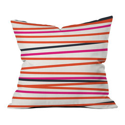 DENY Designs - DENY Designs Khristian A Howell Crew Stripe Warm Throw Pillow - Throw pillows aren't just for grandma's house anymore. Make throw pillows cool again with the simple DENY Designs Khristian A Howell Crew Stripe Warm Throw Pillow. Featuring vibrant red, pink, and black stripes, each fade-resistant pillow is specially printed to order for long-lasting color and comfort at home. Based out of Denver, CO, DENY Designs works with art communities and artists from around the world to create custom home decor accessories. Take the leap you'll never have to regret!Custom printed to orderFade resistantWoven polyester coverConcealed zipper6-color dye processKhristian A Howell collection