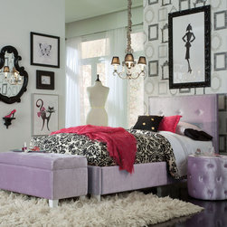 Standard Furniture - Standard Furniture Young Parisian 3 Piece Kids' Bedroom Set in Lavender - Young Parisian Beds will add alluring Hollywood glamorous styling to youth bedrooms  with their plush fabrics and eye-catching jeweled accents.