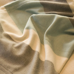 Emma at Home - Foggy Bottom Baby Alpaca Throw Blanket - Robin's egg blue, warm gray and ivory make for a lovely color combination. You could design a calming bedroom or nursery around this soothing palette.