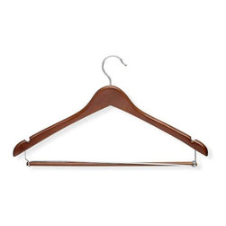 Honey Can Do - Contoured Suit Hanger with Locking Bar in Che - Contured shape. Maintains proper coat and shirt shape. Locking bar. Keeps pants in place. Limited lifetime warranty. 17.75 in. L x 0.5 in. W x 9.75 in. H (1.7 lbs.)Honey-Can-Do HNG-01265 3-Pack Contoured Suit Hanger, Cherry. Beautiful, wooden clothes hanger has a contoured design perfect for keeping shirts, dresses, jackets, and pants wrinkle-free. Features a 360 degree swivel rod hook to hang items easily on any closet rod, towel bar, or standard size door. Integrated shoulder notches keep items with spaghetti straps hanging perfectly. Non-slip pant bar detaches on one end for quick and easy hanging, then locks back in place to hold garments securely. A gorgeous upgrade for any closet.