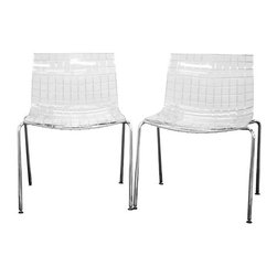 Baxton Studio - Transparent Clear Acrylic Accent Chair (Set of 2) - This transparent clear acrylic chair draws its inspiration from the