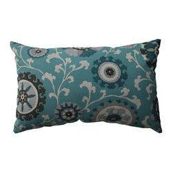 Suzani Aqua Grey Off-White Pillow - - Pillow Perfect Suzani Teal Rectangular Throw Pillow  - Sewn Seam Closure  - Spot Clean Only  - Finish/Color: Aqua/Grey/Off-White  - Product Width: 18.5  - Product Depth: 11.5  - Product Height: 5  - Product Weight: 0.5  - Material Textile: 100% Cotton  - Material Fill: 100% Recycled Virgin Polyester Fill Pillow Perfect - 512723