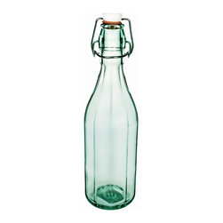 Global Amici - Faceted Large Bottles (Set of 2) - Amici's Faceted bottle is produced in Italy using Recycled Green Glass. The airtight hermetic seal will keep your Oils and Vinegars or salad dressings nice and fresh.