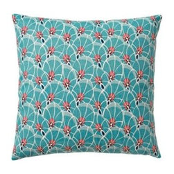 Serena & Lily - Palm Leaf Pillow Cover Teal - With a botanical print as our starting point, we exaggerated some elements to come up with a pattern that's funky and fun. A bold palette of teal, red and white gives it the color pops we crave.