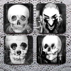 Optical Illusion Skull Coaster Set by Polka Dot Dog - Mess with people's heads at your next cocktail party by setting out this set of optical illusion coasters from Polka Dot Dog. They'll definitely break the ice!