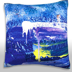 Custom Photo Factory - Splattered Paint Pillow.  Polyester Velour Throw Pillow - Splattered Paint Pillow. 18 Inches x 18  Inches.  Made in Los Angeles, CA, Set includes: One (1) pillow. Pattern: Full color dye sublimation art print. Cover closure: Concealed zipper. Cover materials: 100-percent polyester velour. Fill materials: Non-allergenic 100-percent polyester. Pillow shape: Square. Dimensions: 18.45 inches wide x 18.45 inches long. Care instructions: Machine washable