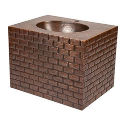 Premier Copper Products - 24 in. Hand Hammered Copper Wall Mount Vanity - Design: Tuscan Design with Built In Sink. Color: Oil Rubbed Bronze. Outer Dimension: 24 in. x 18 in. x 24.75 in. . Built In Sink Dimensions: 15 in. x 11 in. x 16 in.. Back of Vanity Opening: 16 in. X 16 in.. Drain Size: 1.5 in.. Installation Type: Wall Mount. Drain not included. Hand Made. 100% Recyclable. Composition: 99.7% Pure Recycled Copper. Lead Free (less than .01%). Patina: Fired. Packaging: Recycled Cardboard Box. Warranty: Limited Lifetime. Note: This product is 100% hand made, small variances in size and color may occur. Care Instructions includedPremier Copper Products introduces our new hand hammered copper wall mount vanities with the sink built into the vanity. This simple style vanity is perfect for smaller bathrooms and powder rooms. Copper's antibacterial and antimicrobial properties allow this vanity to be easily cared for - never having to use harsh chemicals that are harmful to people and the environment. Endlessly recyclable, this vanity will never take up space in a landfill like other stone and porcelain products. It will not only be an eye catching art piece in your bathroom, but it will be an eco-friendly product that will endure for generations.