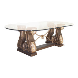 """Acanthus & Rope Dining Table Base - Acanthus & Rope Dining Table Base (Large). Style no: DT49580. 59""""w x 26""""d x 29 1/2""""h. Acanthus & Rope Dining Table Base (Small). Style no: DT49590. 52""""w x 20""""d x 29 1/2""""h. Material: Bonded wood, metal. Finish/Accents: As specified. Top Options: Glass, wood, or copper. Custom sizing available. Designed by Shah Gilani, ASFD."""