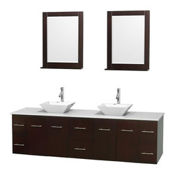 Wyndham Collection - 80 in. Double Bathroom Vanity in Espresso, White Man-Made Stone Countertop, Pyra - Simplicity and elegance combine in the perfect lines of the Centra vanity by the Wyndham Collection . If cutting-edge contemporary design is your style then the Centra vanity is for you - modern, chic and built to last a lifetime. Available with green glass, pure white man-made stone, ivory marble or white carrera marble counters, with stunning vessel or undermount sink(s) and matching mirror(s). Featuring soft close door hinges, drawer glides, and meticulously finished with brushed chrome hardware. The attention to detail on this beautiful vanity is second to none.
