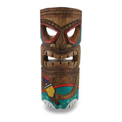 Zeckos - Tan, Green and Red Partying Tiki Mask Hand Carved Wood Cocktail Tiki 12 In. - This tiki is ready to join the party Incredibly fun and hand-carved, this big grinning tiki mask will add the perfect touch to any Polynesian themed room or tiki bar Each mask is handcrafted by artisans in Indonesia of Albesia wood, which is lightweight and easily replenished. It measures approximately 12 inches tall, and 5 inches wide (30x13 cm) with an attached hanger on the back. This tan tiki green shorts, is highlighted with a green and red mask, and holds an adult beverage in hand It's the perfect pop of color anywhere, and a great accent for a tiki themed room or island oasis sure to keep the party rolling It makes a wonderful housewarming gift sure to be admired NOTE: Because these masks are handcrafted, they may differ slightly than the one pictured.