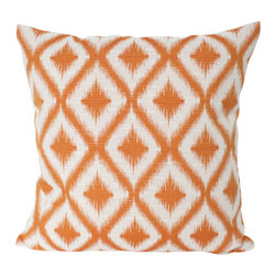 The Pillow Studio - Designer Orange Ikat Decorative Designer Pillow - This pillow has such a great graphic punch of mango orange in an ikat pattern.
