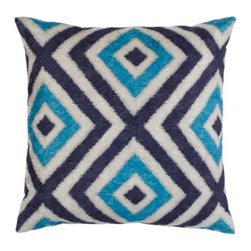 "Z Gallerie - Diamonte Pillow 24"" - Graphically repetitive and visually stunning, our Diamonte Pillow is an exceptional way to update your décor. Juxtaposed against an ivory hued background, concentric diamonds in shades of sapphire create a stunning geometric pattern play. Designed out of velvet polyester, for the utmost in softness and texture, our Diamonte Pillows is a stunning addition to a wide variety of décor settings. Generously sized at 24 inches square, our Diamonte Pillow is filled with a luxurious down/feather insert, the ultimate in sink-into sumptuousness. Dry clean only."