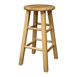 "Winsome Wood - Winsome Wood Set of 2 - Square Leg 24 Inch Stool in Beech - The set comes with 2 counter stools, essential and stylish black 24"" Assembled Stool with square legs. Perfect for extra seating. Overall stool size is 13.4""W x 13.4""D x 24.2""H. Solid wood in Clear Natural Finish Barstool (2)"