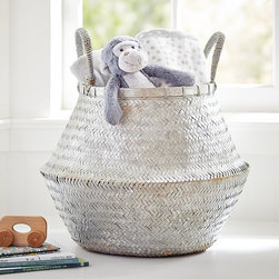 Large Silver Metallic Basket - This wide, ample basket neatly stores everything from kids' toys to extra towels in the bath.
