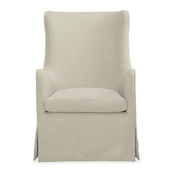 Ellery swivel chair - The Ellery swivel glider offers perfectly proportioned comfort for snuggling with your little one. The gentle curves of this updated wingback design invite you to rest your head and arms, but an upright sit makes it easy to stand when you've finished rocking--even with a child in your arms. Stain-resistant fabric and a small footprint make Ellery as practical as it is elegant.