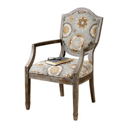 Valene Accent Chair - Dreamy blues and sandy beige tones playfully dance in geometric floral prints across the fabric of the Valene Accent Chair in a soothing way that inspires relaxation and comfort, while being absolutely chic. A deeply weathered solid birch frame features spade feet and a carved shield that looks cozy yet elegant in sunny living room or home office.