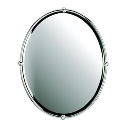 "WESTWOOD - WESTWOOD Contemporary Oval Mirror X-HC60014 - Distinguished and appealing, the Chrome finish of this oval, beveled mirror makes it favorable for most bathroom motifs. Width 24"", Height 30""."