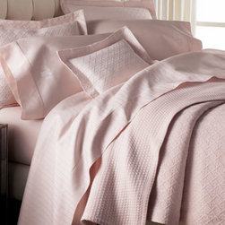 "Horchow - Twin Cane Matelasse Coverlet - Exclusively ours. ""Susanne"" linens feature a watercolor-like print of flowers, birds, and butterflies, while bringing a linen-like texture and delicate ruffle detail to our growing array of mix-and-match options. ""Cane"" Egyptian cotton matelasse linen..."