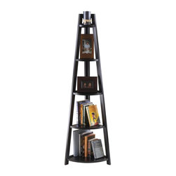 Winsome Wood - 5-Tier A-Frame Corner Shelf - Functional and attractive. Perfect in every room. 5 shelves with various size. Made from solid, composite wood. Black finish. Assembly required. 1st top shelf: 5.93 in. W x 4.19 in. D. 2nd top shelf: 8.57 in. W x 6.06 in. D. Middle shelf: 11.19 in. W x 7.91 in. D. 4th shelf: 13.83 in. W x 9.78 in. D. 5th bottom shelf: 16.48 in. W x 11.65 in. D. Overall: 18.39 in. W x 12.99 in. D x 58.03 in. H