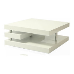 "Pastel Furniture - Pastel Viceroy Rectangular Coffee Table in High Gloss White with Chrome - The viceroy coffee table with its very modern and unique design will add style and elegance to your living area. This 47"" x 24"" rectangular coffee table comes in glossy white wood with chrome design."